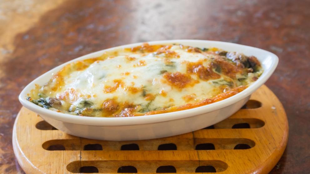 Photo of Receta de Pasta gratinada con espinacas y champiñones