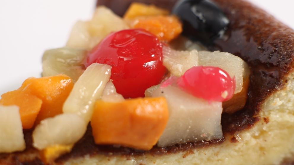 Fruta macedonia, vainilla y leche de soja
