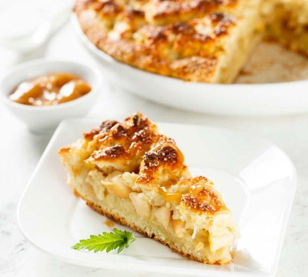 Tarta de queso mascarpone y puré de manzana