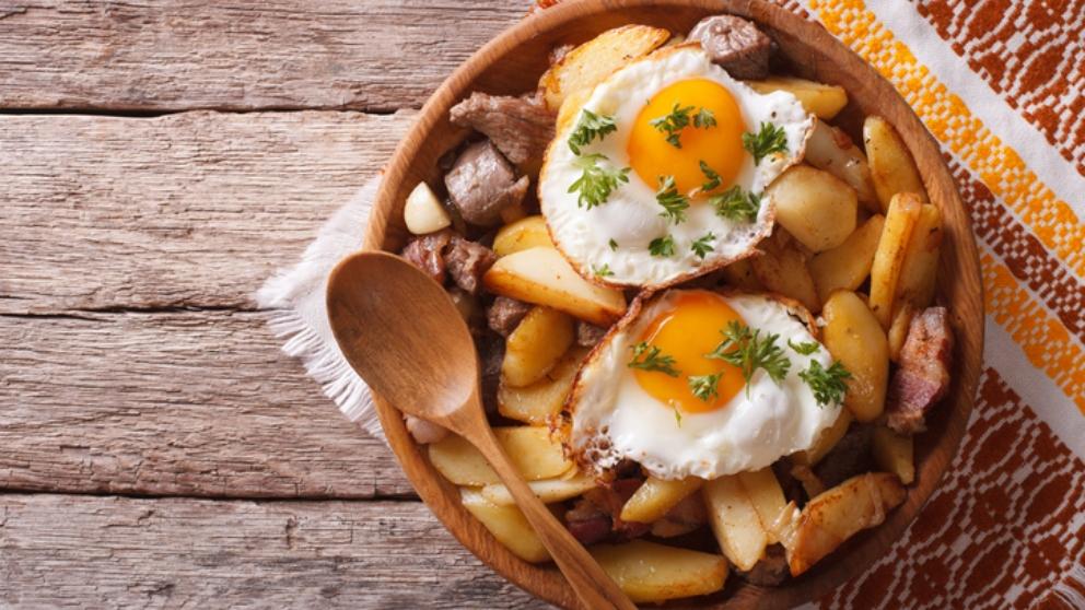 Receta de nidos de patata con setas y huevo frito 1