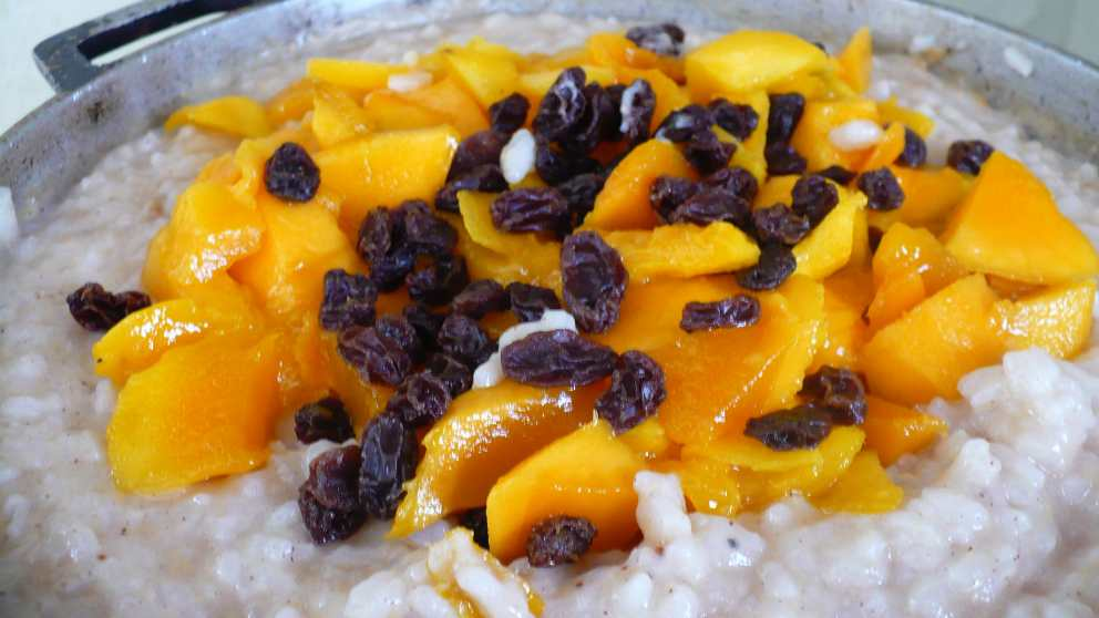Photo of Receta de Arroz de postre con frutos exóticos orientales