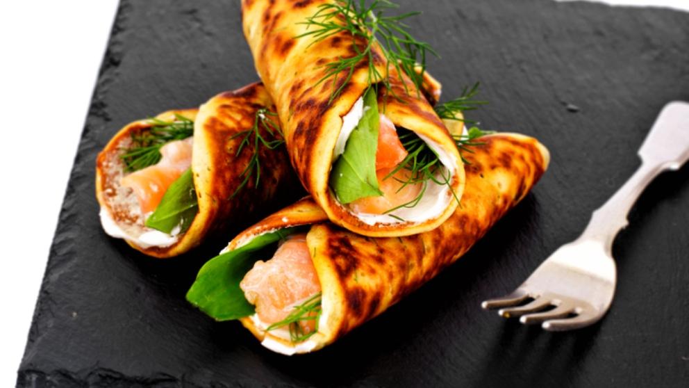 Photo of Receta de crepe crujiente de brandada de bacalao con salsa de naranja