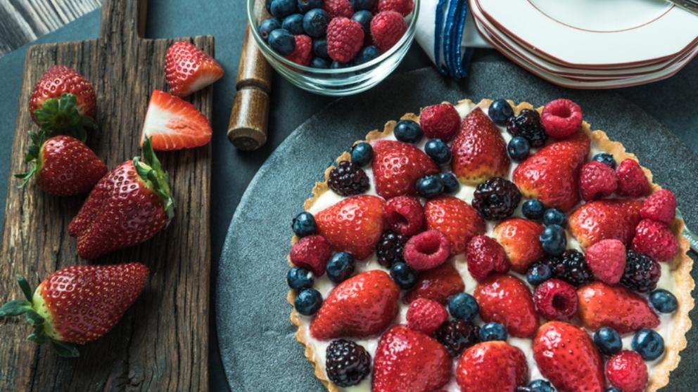 Receta de pastel rápido de crema con frutas 1