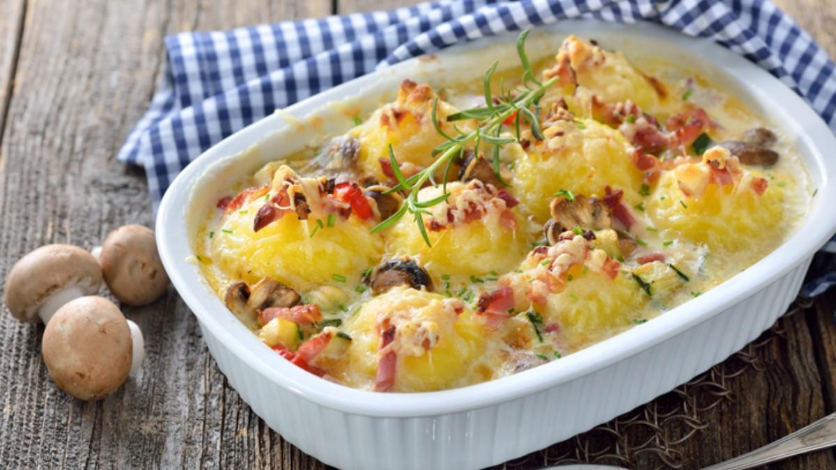 Receta de patatas gratinadas al horno con setas 1