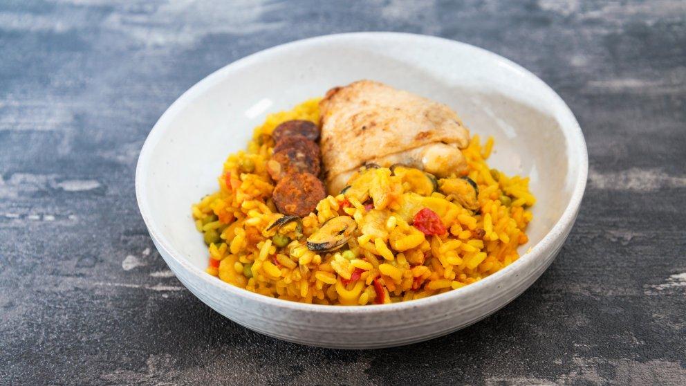 Receta de arroz con pollo al curry con verduras al estilo del Palacio de Mijares 1