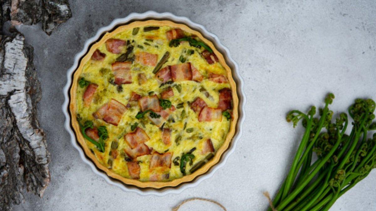 Receta de pastel de bacon y guisantes fácil de preparar 1