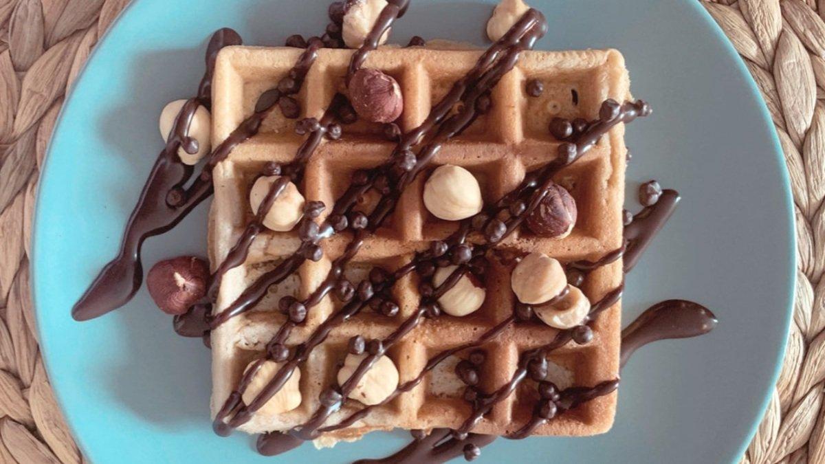 Receta de gofre sano de chocolate sin azúcar 1