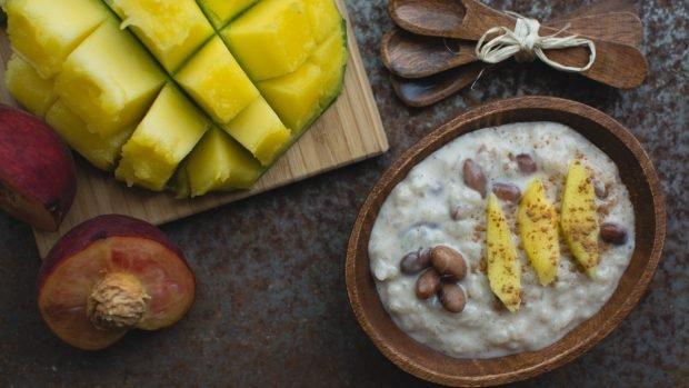 Receta de arroz con leche de coco y mango.