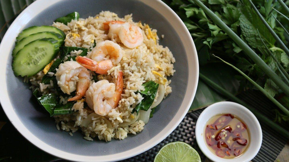 Receta de arroz tres delicias con gambas 1