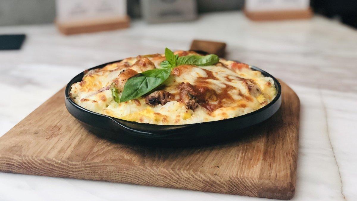 Receta de gratinado de carne con champiñones y queso 1