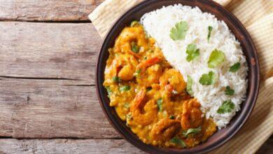 Receta de arroz rápido con curry y gambas 8