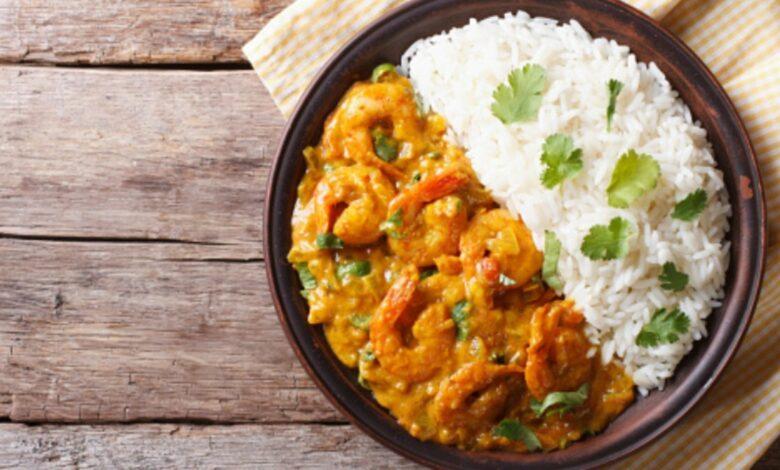 Receta de arroz rápido con curry y gambas 1