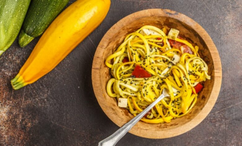 Receta de espaguetis con tofu y salsa de calabacín 1