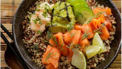 Receta de quinoa con salmón y aguacate 4