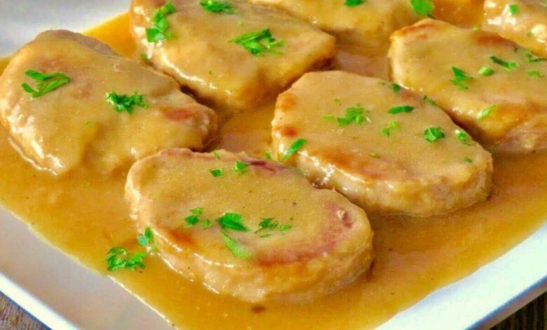 Receta de Solomillo de cerdo con gambas y crema, mar y montaña 1