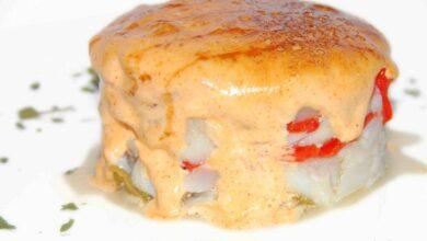 Receta de Timbal de bacalao con pimiento caramelizado 19