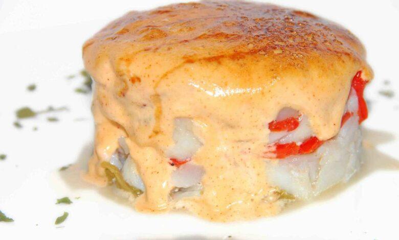 Receta de Timbal de bacalao con pimiento caramelizado 1