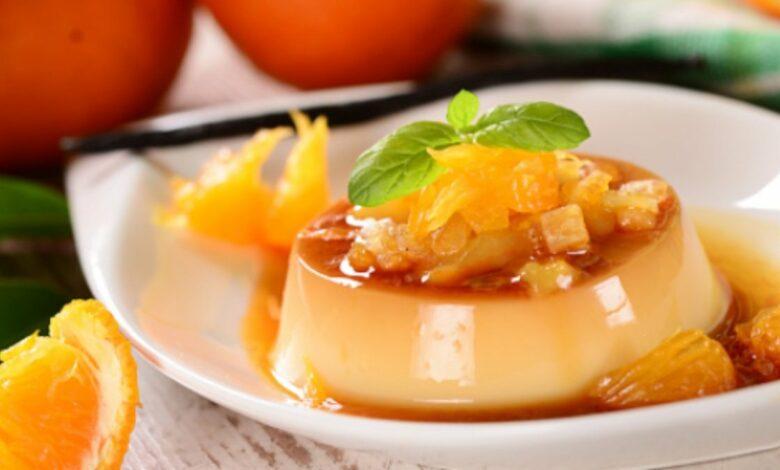 Receta de flan de naranja con solo 3 ingredientes y sin horno 1