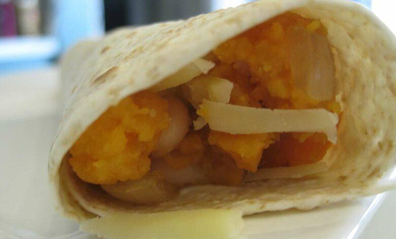 Burrito de presa ibérica y mango, receta fusión 1