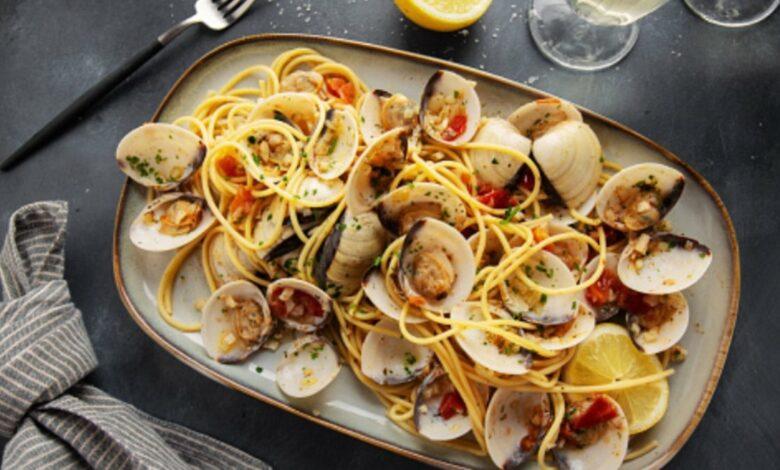 Receta de espaguetis con almejas a la marinera 1