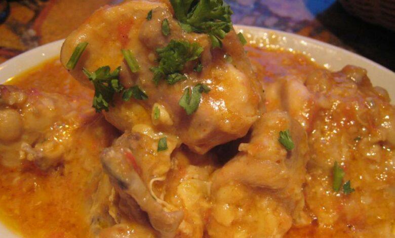 Pollo, receta en salsa de mango y curry 1