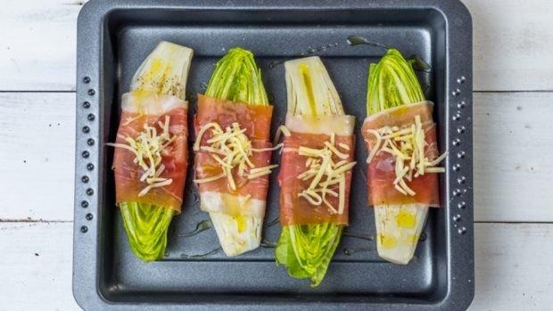 Receta de endivias con carpaccio de ternera y queso