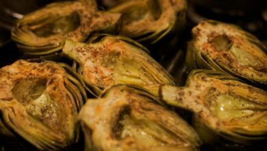 Boniatos y alcachofas asadas, receta de guarnición fácil de preparar 6