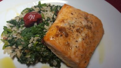 Salmon con risotto de espinacas al horno, receta de pescado deliciosa 7
