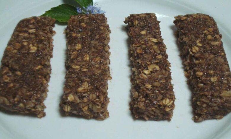 Barritas energéticas de chocolate, muesli y caramelo, receta casera 1