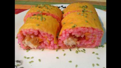 Sushi rosa, vegano y sin gluten, receta fácil de hacer 5