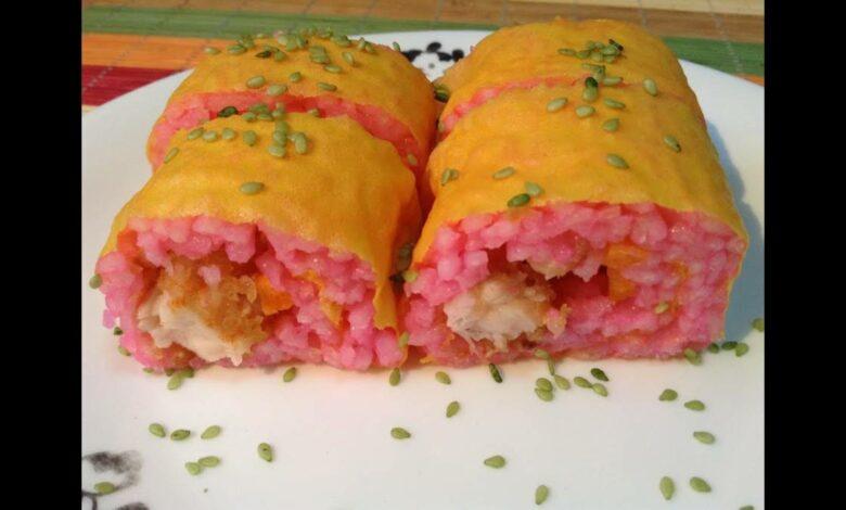 Sushi rosa, vegano y sin gluten, receta fácil de hacer 1