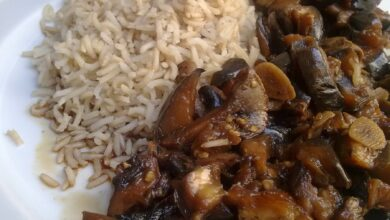 Berenjenas con arroz, cocina china 10