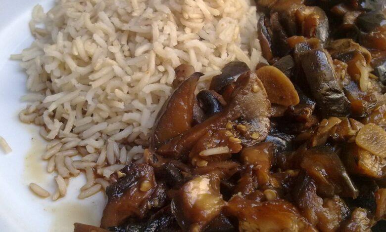 Berenjenas con arroz, cocina china 1