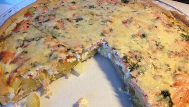 Quiché de puerros, calabacín y salmón, receta casera 2