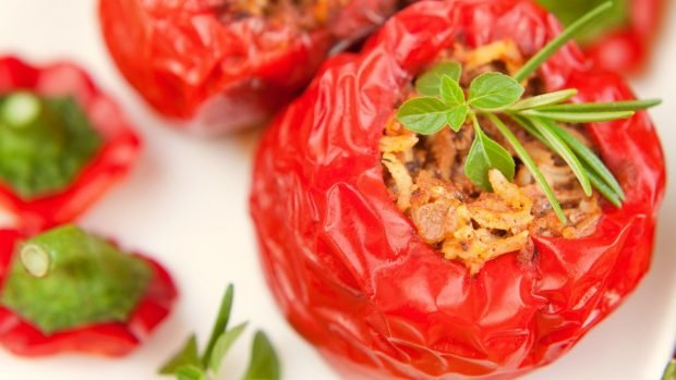 Pimientos rellenos de soja texturizada, receta vegana 2