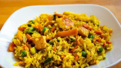 Arroz seco de verduras con curry al microondas 2