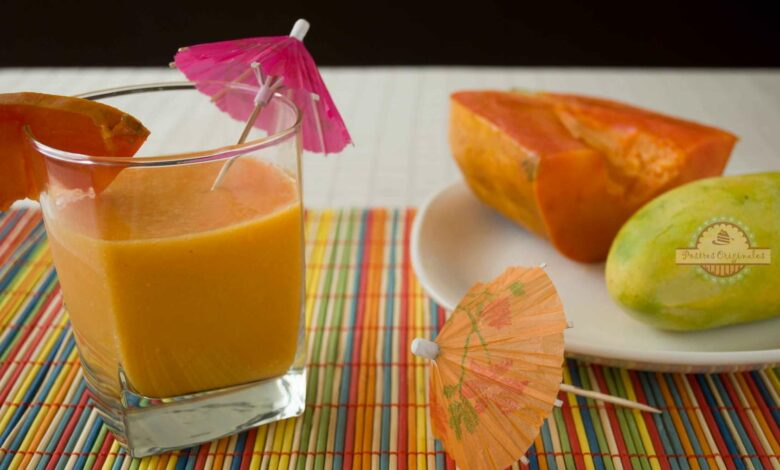 Batido de papaya, pomelo y piña, receta fácil 1