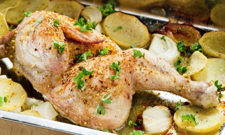 Cuartos de pollo al horno con vino blanco 1