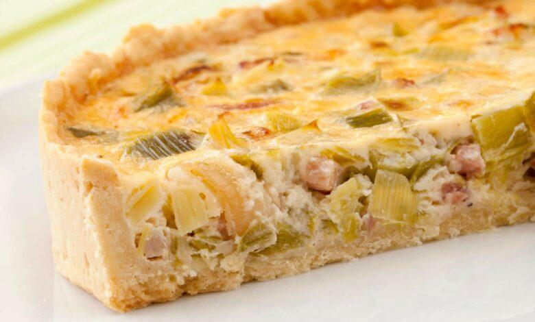 Quiche de puerros y jamón: receta casera 1
