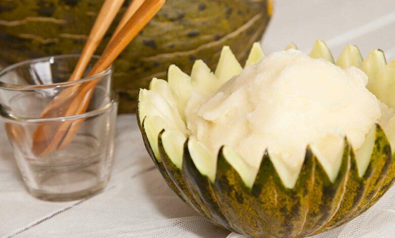 Sorbete de melón y melocotón, receta casera 1