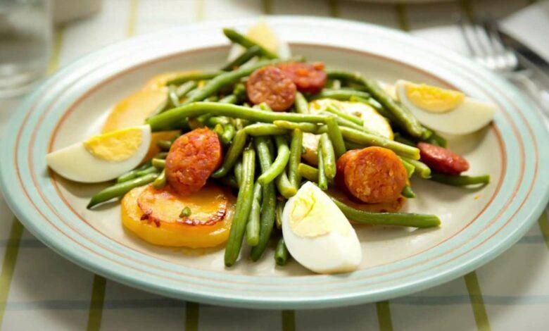 Judías verdes con chorizo, receta casera 1