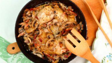 Pollo con berenjena y champiñones al toque de miel 7