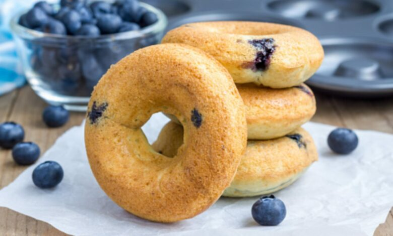 Donuts de arándanos, receta de dulce saludable fácil de preparar 1