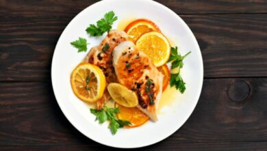 Pechuga de pollo con salsa de naranja al microondas, receta saludable lista en 5 minutos 10